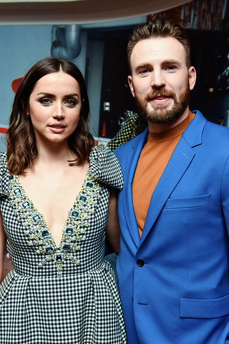 Happy birthday to Ana de Armas KNIVES OUT co-star, Chris Evans.