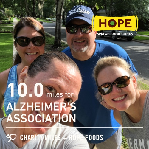 7 ran, 3 walked equals 10.0 @CharityMiles for @alzassociation. Phew! Thx @HopeHummus for sponsoring me! #SpreadHope