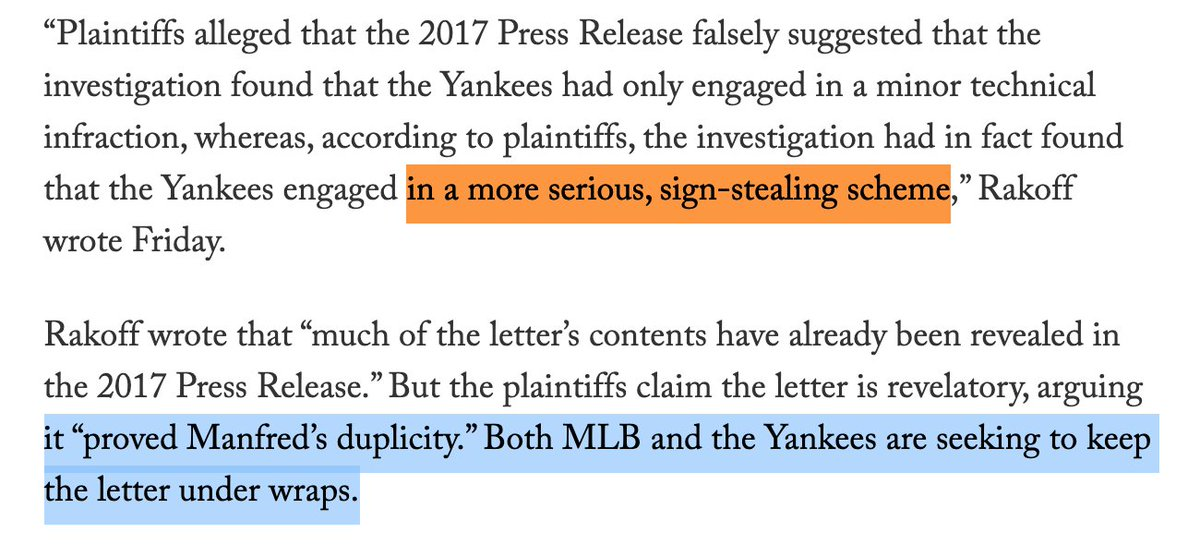 Remember when everyone said I was being a crazy homer for saying that the Yankees were stealing signs and they were being protected by the league? Well, crazy story, the Yankees were big time stealing signs and then they were protected by the league. https://t.co/7WMkndlUIw