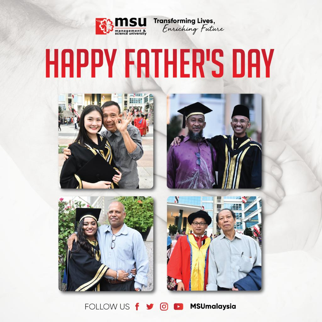 Happy #FathersDay to all dads out there! A special shout out to Tan Sri President @MohdShukriYajid, we are so fortunate to have you as the FATHER of #MSUmalaysia. #LovefromMSU❤️