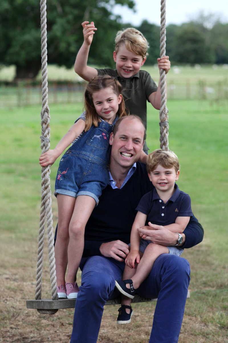 The Duke and Duchess of Cambridge are very pleased to share a new picture of The Duke with Prince George, Princess Charlotte and Prince Louis ahead of The Duke's birthday tomorrow.  The picture was taken earlier this month by The Duchess. https://t.co/maFAGS4bTe