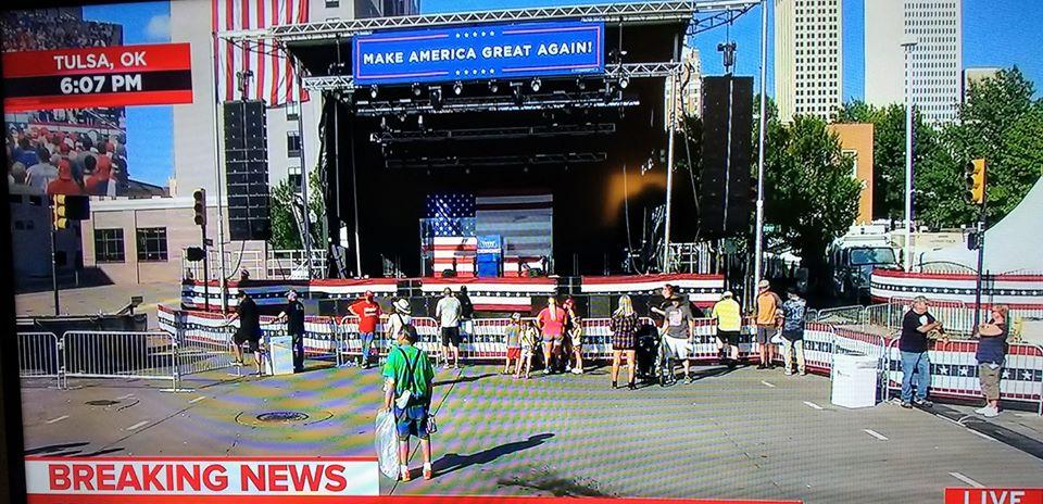Trump Tulsa Coronavirus Rally Has Empty Seats, Outdoor Overflow Speech Cancelled Due To Lack Of Supporters  #TrumpCoronaFest2020 #TrumpCoronaVirusRally #TrumpDeathToll100K #Coronavirus #MAGA2020 #Trump2020 #TrumpRallyFail #Pandemic #WearAMask #TrumpTulsaRally #Oklacovid #GOP<br>http://pic.twitter.com/ZNsfAgiyBJ