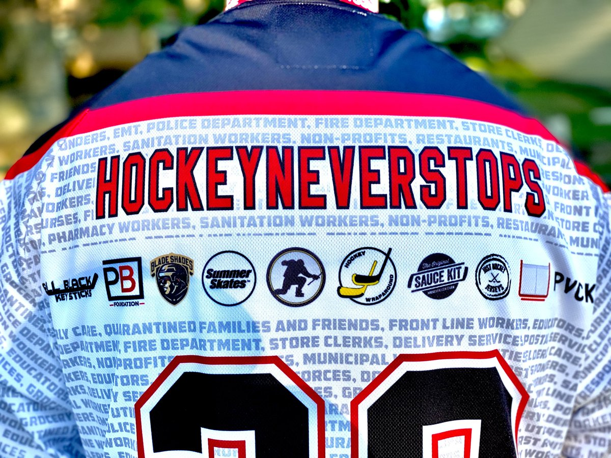 Super proud to be involved with these #HockeyNeverStops jerseys! 100% of profits go to the Penalty Box Foundations COVID-19 relief funds.   Thanks to the boys at WeLive Hockey and @hockeyrewards for putting this together!   Visit https://t.co/mHmeEjF93Q for more info. https://t.co/yj28ZhtkYC