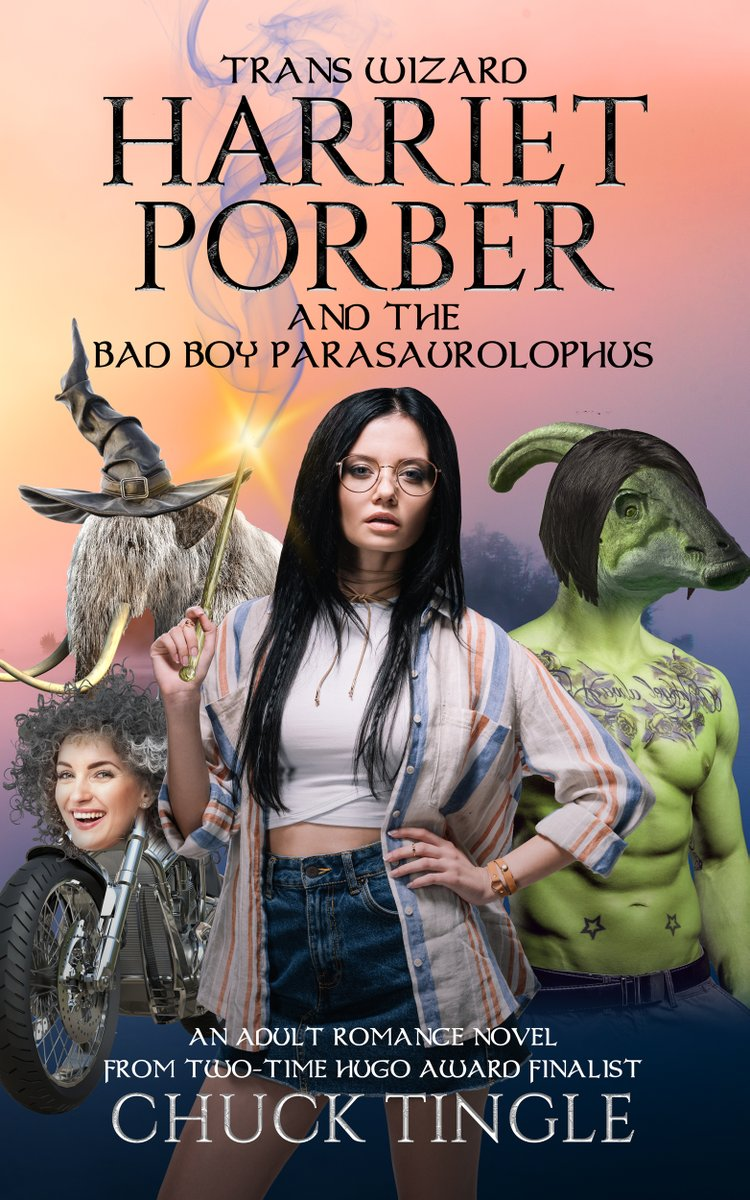 please enjoy new full length adult romance novel (52000 words) in paperbook or ebook about the best wizard: TRANS WIZARD HARRIET PORBER AND THE BAD BOY PARASAUROLOPHUS available now also trans rights amazon.com/dp/B08B386R6J