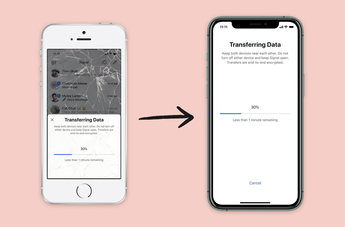 Signal can now transfer your chat history to a new iPhone