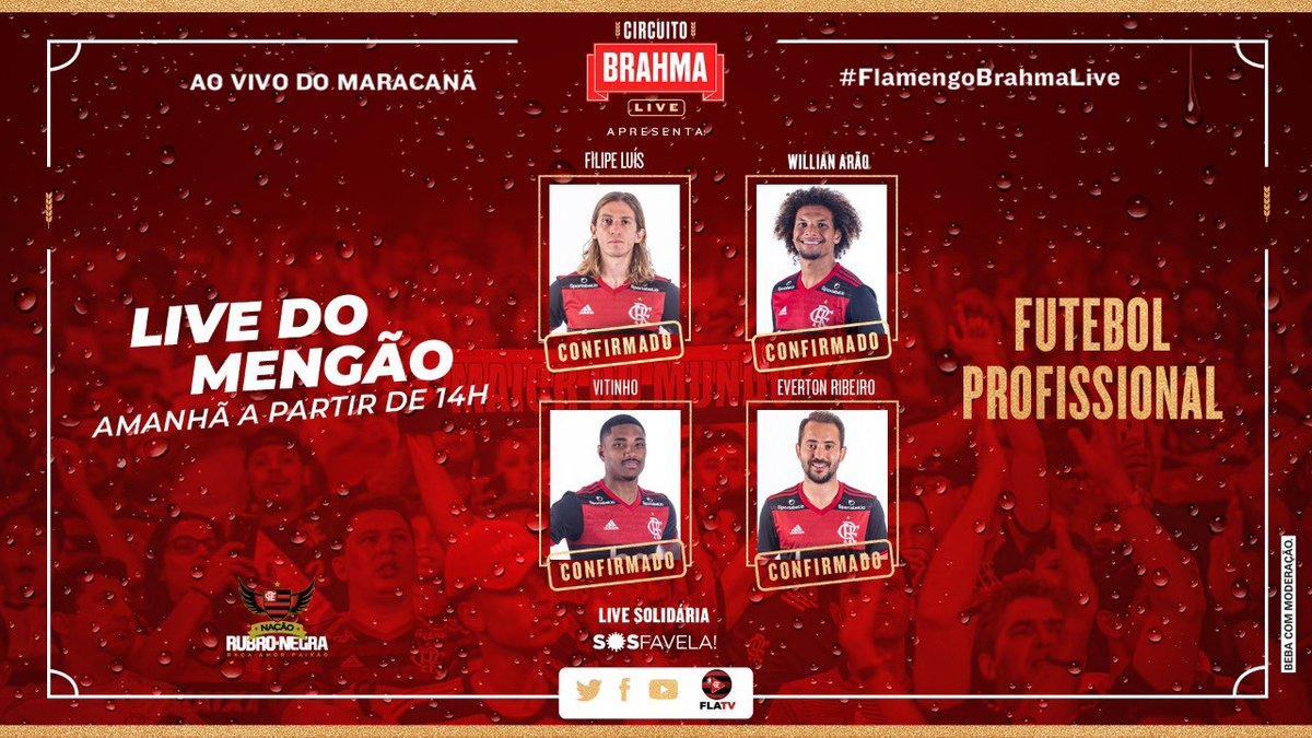 E é claro que não poderiam faltar os craques do nosso elenco atual na #FlamengoBrahmaLive!  Presenças confirmadas ✅: @evertonri, @filipeluis, @willianarao e Vitinho! 🔴⚫️  É amanhã, às 14h, Nação! Está chegando a hora! https://t.co/oReulTZzAT