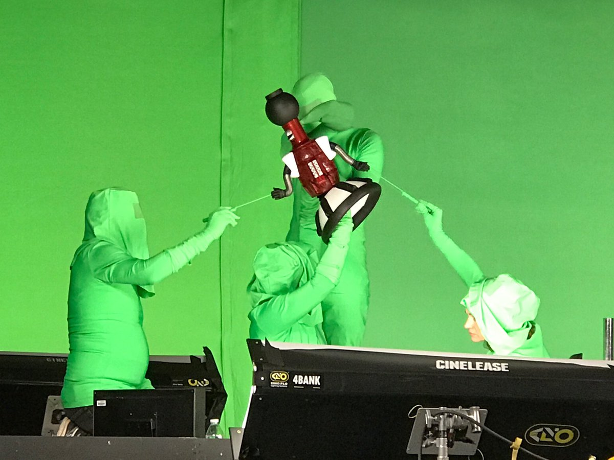 Helping Tom Servo fly on the set of @mst3k season 11.