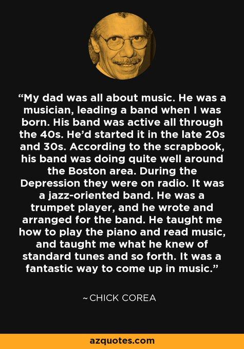 """Happy 79th Birthday to the amazing Armando \""""Chick\"""" Corea, who was born June 12, 1941, in Chelsea, Massachusetts."""