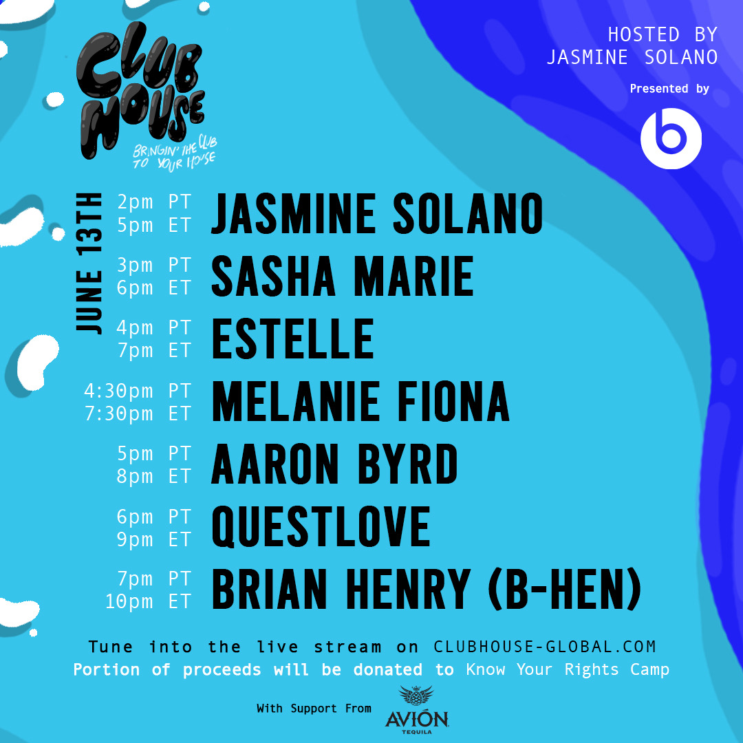 We're LIVE! Here is today's @ClubHouseGlobal DJ lineup. All funds raised today will go to support @Kaepernick7's @yourrightscamp: @xo_jsmn @sashasashamarie @estelledarlings @melaniefiona @questlove @itsAByrd @ItsBrianHenry_ // Join now: https://t.co/MfhtAogeLD https://t.co/RYZgeeEPR1