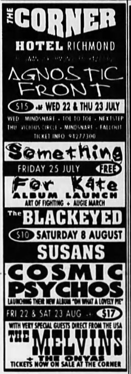 sik lnup tht wk RT @gigsyoumissed: July/Aug 1997 @ Corner Hotel: Agnostic Front /w Mindsnare + Toe To Toe + Nextstep + Vicious Circle + Fallout, Something For Kate /w Art of Fighting + Augie March, Blackeyed Susans, Cosmic Psychos, The Melvins /w The Onyas https://t.co/y797TwpH2K