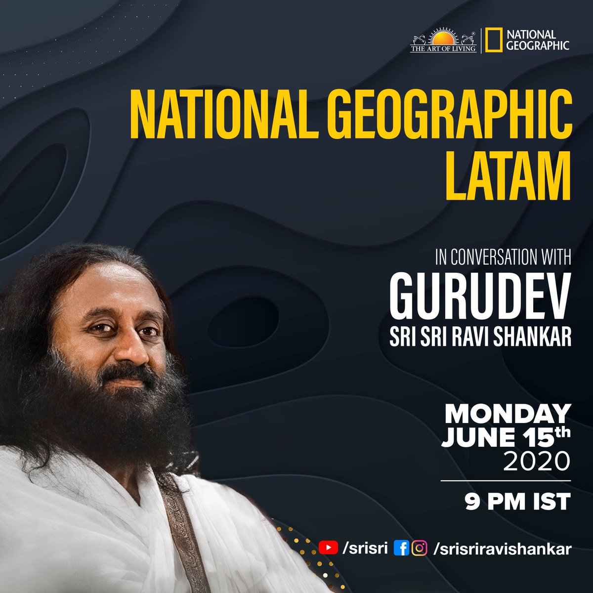 Nature is rejoicing in these times of #coronavirus . @NatGeo Latam in conversation with Gurudev @SriSri on 15th June at 9pm IST.  Watch it live on :- https://t.co/zM74XVsx0Q https://t.co/LUA2GQ3kUE https://t.co/0HwQeRE71B  #COVID19 #natgeo #artofliving https://t.co/xsVxHvS9ab