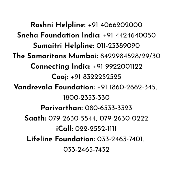 11 suicide prevention helplines across India because help is always just a phone call away