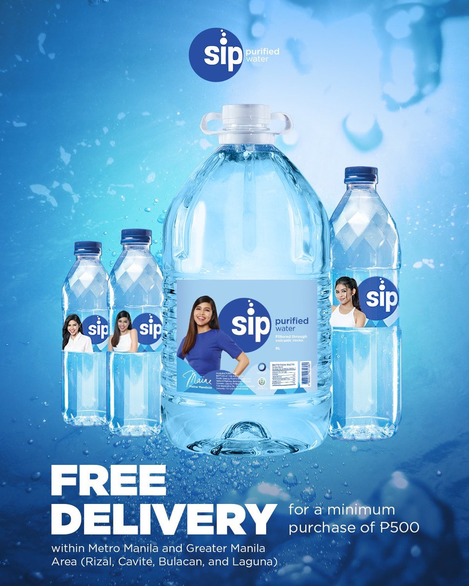 SIP Purified Water just got bigger with the new 6 liters for only 75 pesos! Free delivery within Metro Manila and Greater Manila for a minimum purchase of 500 pesos!  For orders, you can direct message their Facebook or Instagram page! #sipkamuna @SipPurified https://t.co/QArQr3DzaS
