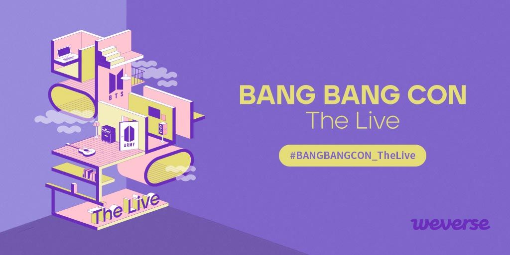BANG BANG CON The Live is starting soon! 💜 Share your thoughts and feelings about the concert with the hashtag #BANGBANGCON_TheLive on #Weverse! Share on Weverse 👉weverse.onelink.me/qt3S/34ebe5b1