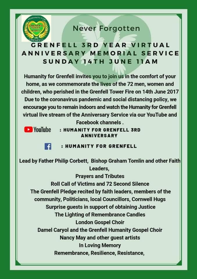 Virtual Memorial Service 11 am @KensingtonCLP @SadiqKhan @UKLabour @GMB_union @UniteHousing @RMTLondon @ColvilleLabour https://t.co/Nh0EcZjPbj