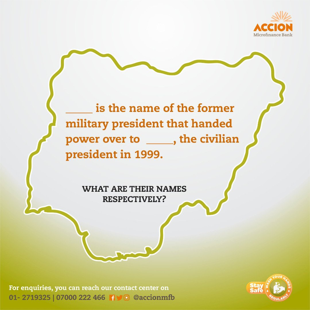 The first 2 correct answers gets airtime. What are their full names?  #AccionCares   #AccionMfB #DemocracyDay #Nigeria #MyFutureisBright<br>http://pic.twitter.com/RxBEo0i67D