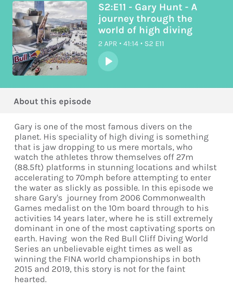 A sneak preview to episode 11 which goes live tomorrow morning! On the show we speak to Gary Hunt, global cliff diving legend! Super excited to share this story with you all 🎧🐒 #cliffdiving #redbull #story #podcast #journey #inspiring
