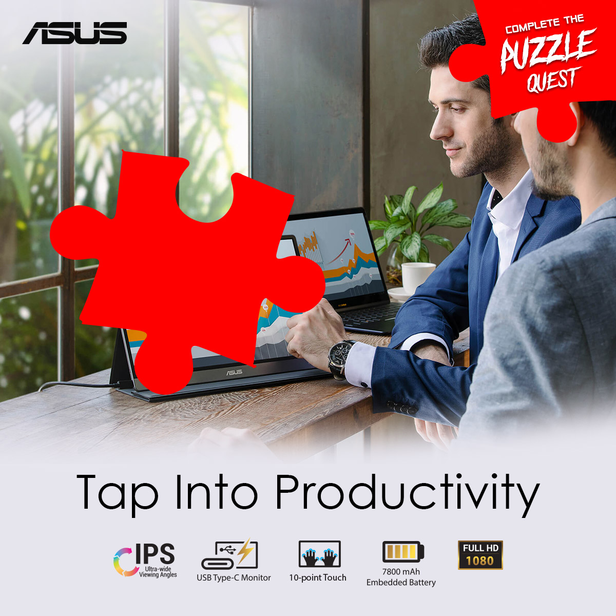 ⚠️🚨 GIVEAWAY ALERT 🚨⚠️ Dropping the 5th hint for   #ASUSPuzzleQuest  HINT: This slim and lightweight portable monitor with a large 7800mAh built-in battery is designed  take your mobile productivity to new heights.  Complete mechanics 👉 https://t.co/k4slWonI98 #ASUSROGMonitors https://t.co/SyjMkltrqo