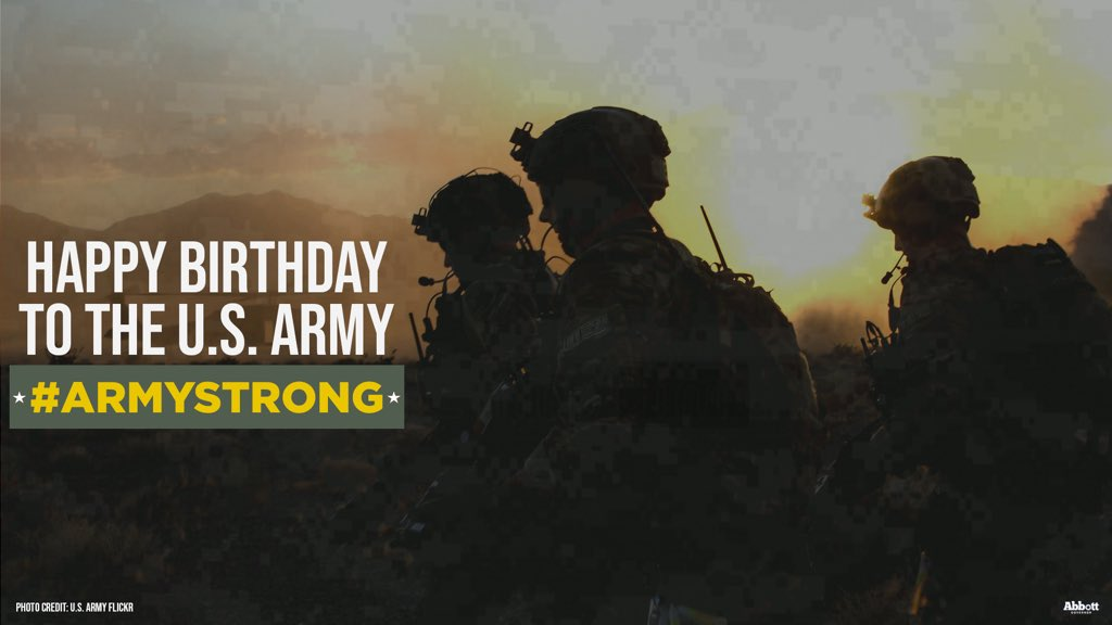 Happy birthday to the incredible @USArmy.   Thank you for your 245 years of dedicated service to our country.   We appreciate all that you do to protect and defend our nation daily.   #ArmyStrong https://t.co/yHOnhMNXZo