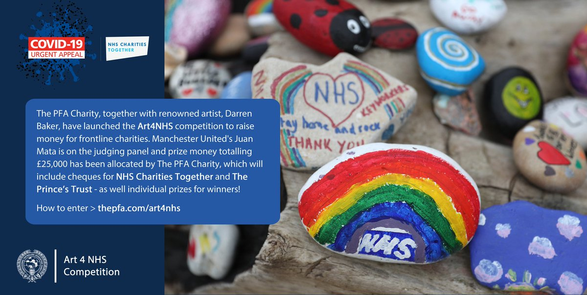 Get creative this Sunday!  Today is closing date for The PFA Charity's Art4NHS competition!   @juanmata8 is on the judging panel and prize money totalling £25k has been allocated, including donations to @NHSCharities and @PrincesTrust!  Find out more: https://t.co/SFz9X2XGQ1 https://t.co/Ogx3UJmlAq