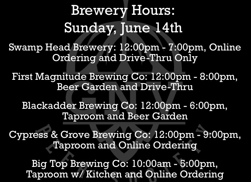 Here are today's hours! 🍻 @fmbrewing @blackadderbrews @cypressandgrove @BigTopGville