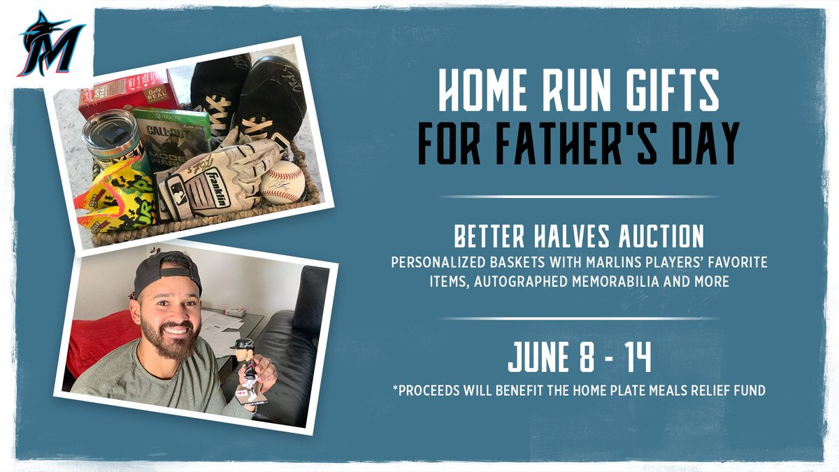 For the DADS! The @Marlins Better Halves are hosting an auction to benefit @MarlinsImpacts Meals Relief Fund! Last chance to bid at marlins.com/betterhalvesau… to win custom player baskets with autographed memorabilia, game used equipment & personal novelties.