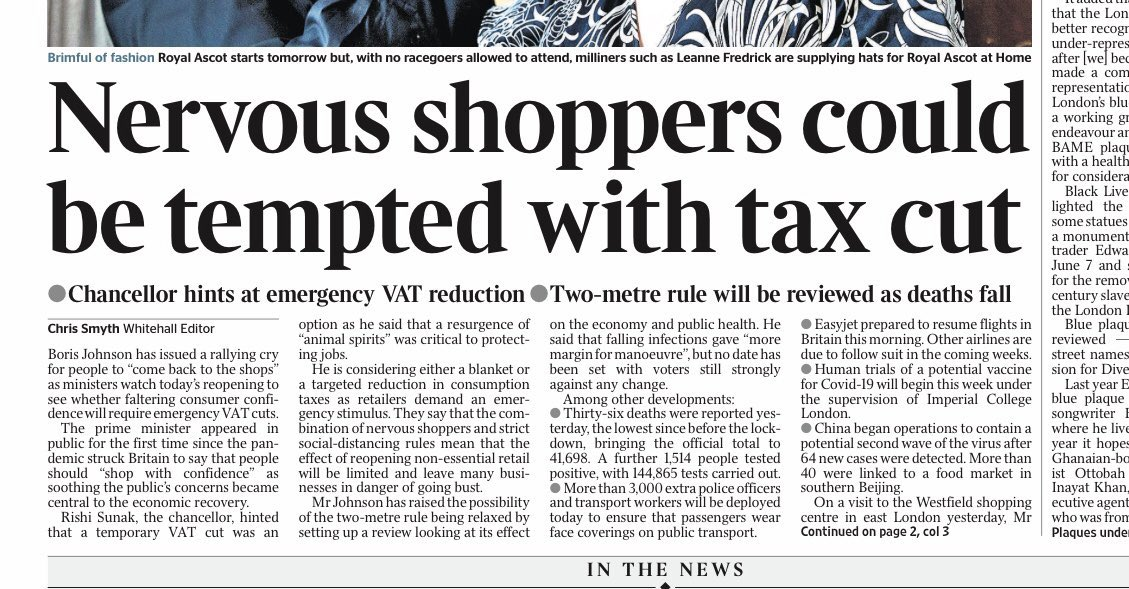 Even more effective than a temporary VAT cut would be a time-limited voucher scheme, say, £100 per person, redeemable only in offline High Street retail - designed to rapidly incentivise customers to spend in next couple of months (ie, use-it-or-lose-it) https://t.co/xONUiXwf32 https://t.co/5LhtlNHavF