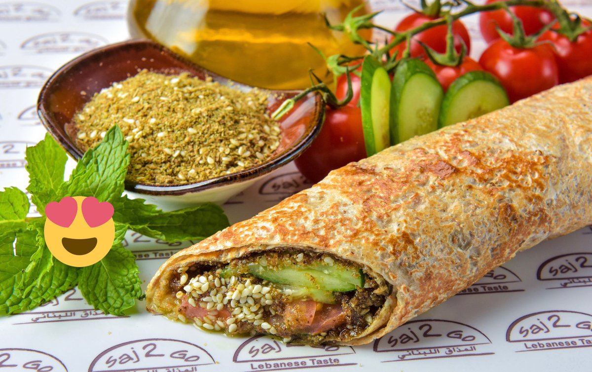 Can you name a tastier #Vegan 🌱 wrap than Saj Zaatar? Maybe our Saj #Falafel 🥙 Wait! Hold on...our Saj #Hommus 🤔. Difficult to beat our #Saj Zaatar filled with vegetables for only 10 dhs. #depachika #nakheelmall #thepalm https://t.co/ygAq92rzQV