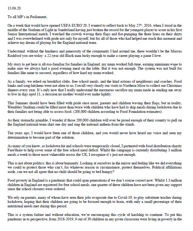 United Zone On Twitter The Full Open Letter To The Government From Marcusrashford