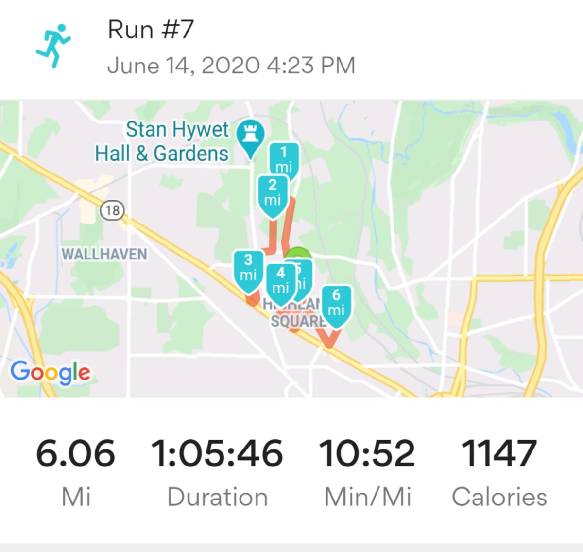 Two weeks ago, I started running again as part of my newly implemented Try Not to Die Too Soon program. Today, I clocked six (slow) miles for the first time in more than four years.   T-minus 14 weeks until the @AkronMarathon https://t.co/UjjNaTO4Rj