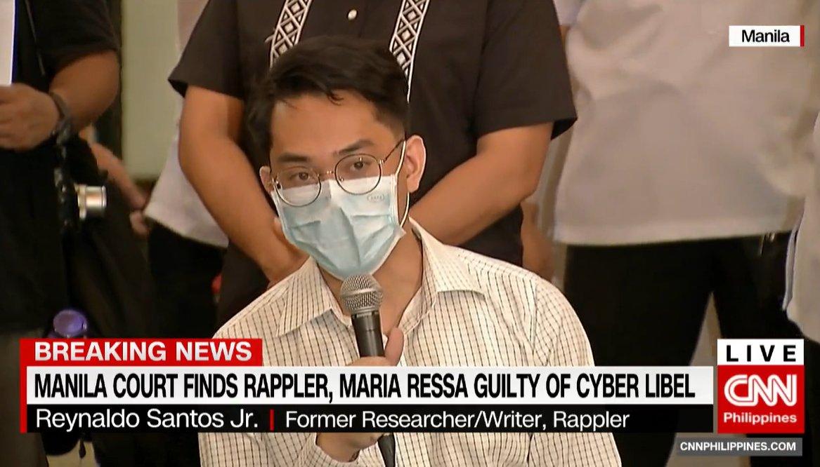"""CNN Philippines's tweet - """"Former Rappler researcher-writer Rey ..."""