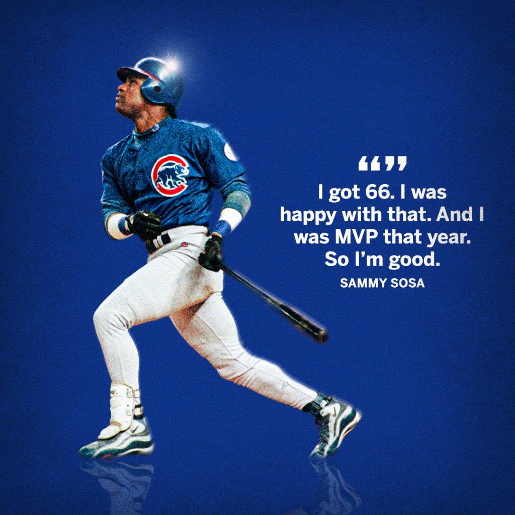 6️⃣6️⃣ and MVP ... Sammy Sosa couldn't be happier.