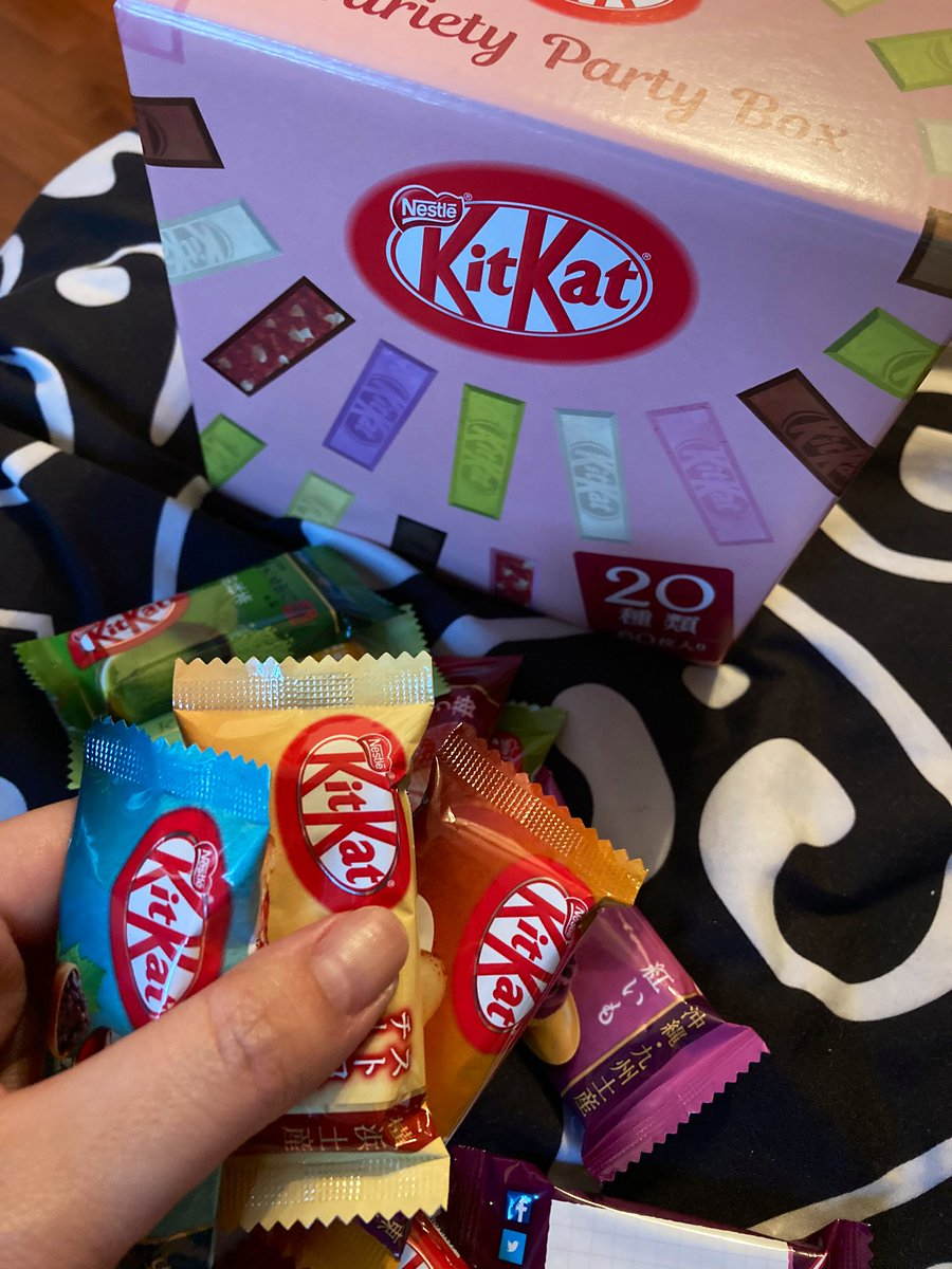Mr friend surprised me with a box of Kit Kats from .@bokksu and I have no idea what most of these flavors are but I cannot WAIT to eat every single one !!!! I've always wanted to try Kit Kats from Japan 😍😭