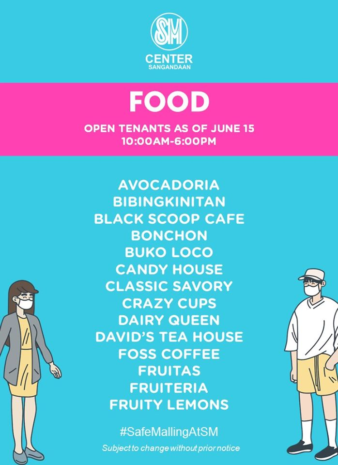 We're excited to welcome you back safely. Here's our updated list of open stores as of June 15.  Click link for resto and menu guide:  https://t.co/f0QMfRXJvZ https://t.co/ybUmIXWYQq