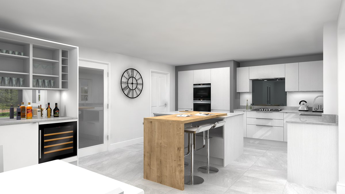 Here's one of our latest designs we've been working on. A simple oak breakfast bar makes an eye catching statement with white slab cabinets  #design #caddesign #cad #3ddesign #3dimage #designservice #VW4D #kitchen #kitchendesign #kitchensofinstagram #interiorstyle #homerenovation