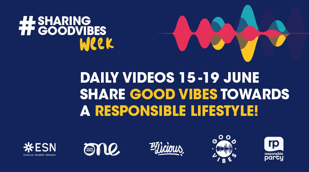 Announcing the launch of #SharingGoodVibes Week as part of our Responsible Party program with @ESN_Int! A week of sharing insightful, fun and inspirational perspectives on responsible lifestyles. Stay tuned! https://t.co/2uQ4qDKNWi