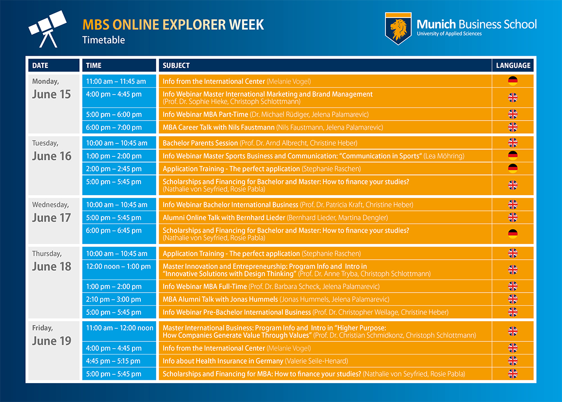 Today at 11am our #MBS Online Explorer Week starts!  20 online events spread over the whole week !💻🎉  Take a look at our timetable ⬇️ and register on our website for the webinars you are interested in: https://t.co/PUZldniIAc  #MBS #businessschool #exploreMBS #online #webinar https://t.co/s9kWlubEj1