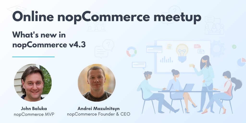 🔔 We remind you about the nopCommerce meetup! Don't miss the talk about nopCommerce 4.30 with @JohnBaluka and live Q&A session with the nopCommerce Founder. The meetup will be on June 16, 10:00am Central Time. Join the meeting: https://t.co/yPc2mxx867  #nopcommerce #aspnetcore https://t.co/yRbj3tLzqw
