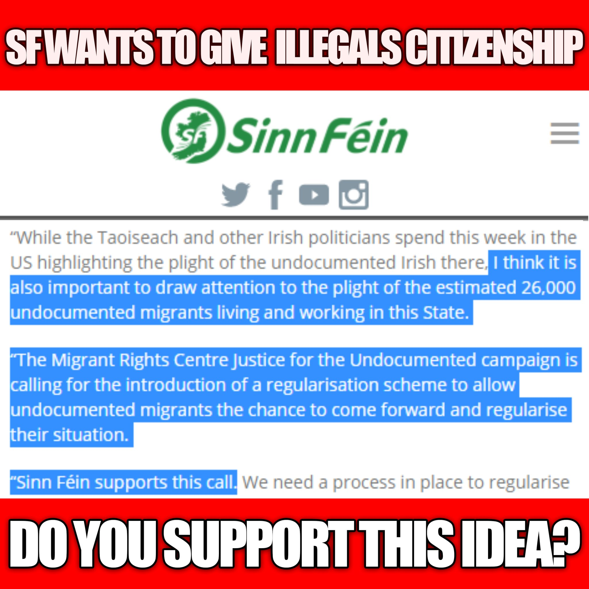 """Ben Scallan 🇮🇪 on Twitter: """"Sinn Féin wants to give 26,000 illegal  immigrants the right to stay in Ireland legally, despite them blatantly  breaking Irish law. This is essentially open-borders. Do you"""
