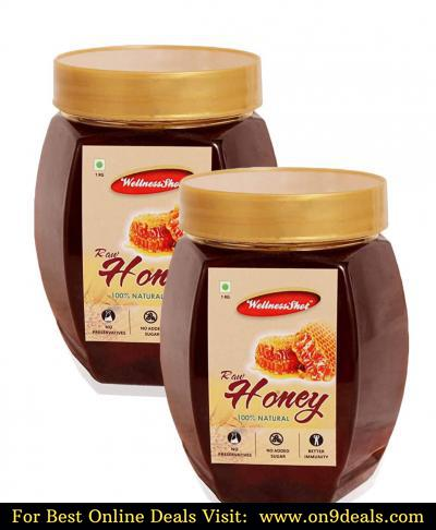 Wellness Shot 100% Natural Raw Honey, (Buy One Get One Free) 1kg Pack of 2