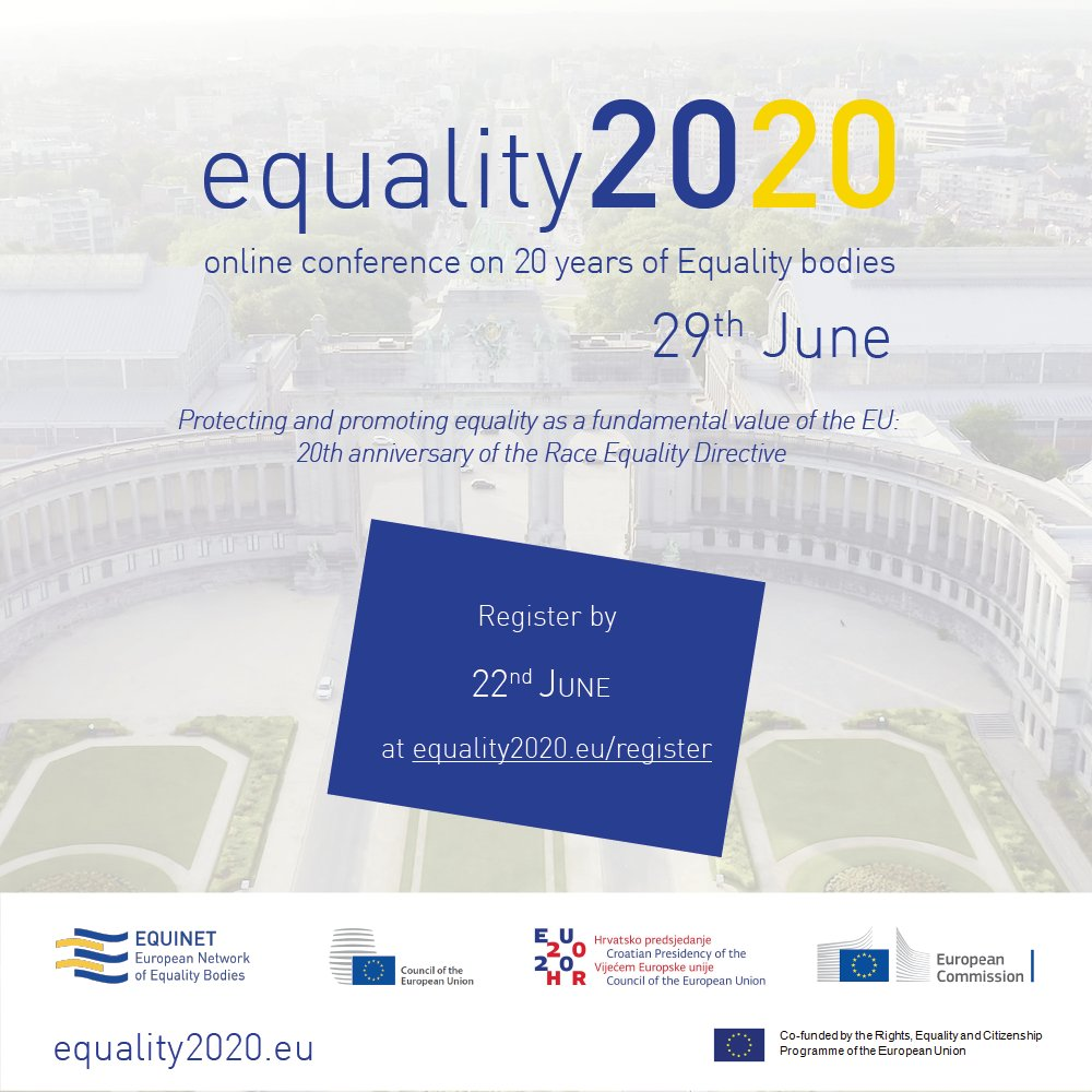 📅 On 29 June 2020, we will celebrate the 20th anniversary of the #RaceEqualityDirective.  We will discuss how #equality has evolved, how it can improve in the future & more.   For details on the event & registration check out the dedicated website ➡️ https://t.co/K1R9bXrlWK https://t.co/wfNeZDuLOo
