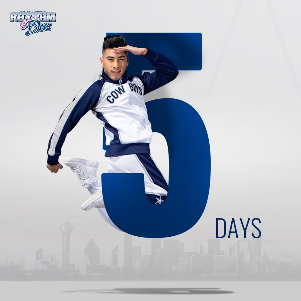 Only 5️⃣ days left to apply for the first ever online DCRB Dancer Auditions. Tag someone who should take the chance and chase their dreams to become a Dallas Cowboys Rhythm & Blue Dancer! Apply today at https://t.co/38h2Qax3bI https://t.co/fiVbTgg22G