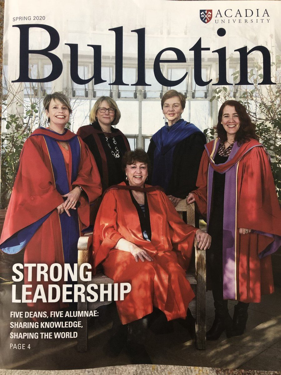 The Spring 2020 issue of Acadia University Alumni's Bulletin features @AcadiaU 's Deans posing in natural brilliance inside the Conservatory, located at the @IrvingCentre .   @Drfishchick @Annabubba @AnnaRedden @Laura_Learns   Photo credit: Peter Oleskevich https://t.co/YHwtwmOiSR
