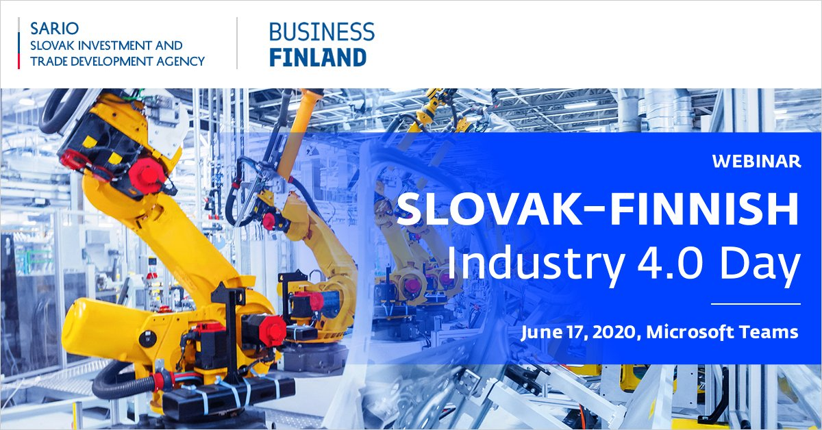 📌Unique opportunity to take part in the international webinar Slovak–Finnish Industry 4.0 Day on June 17, 2020, at 10.00 CET! 🇫🇮🇸🇰  ‼️Only one day to register!  https://t.co/3aqIsauNu9  #goodideaslovakia #investinslovakia #tradewithslovakia  #industry40 #slovakia #finland https://t.co/4t9wkoRKrk
