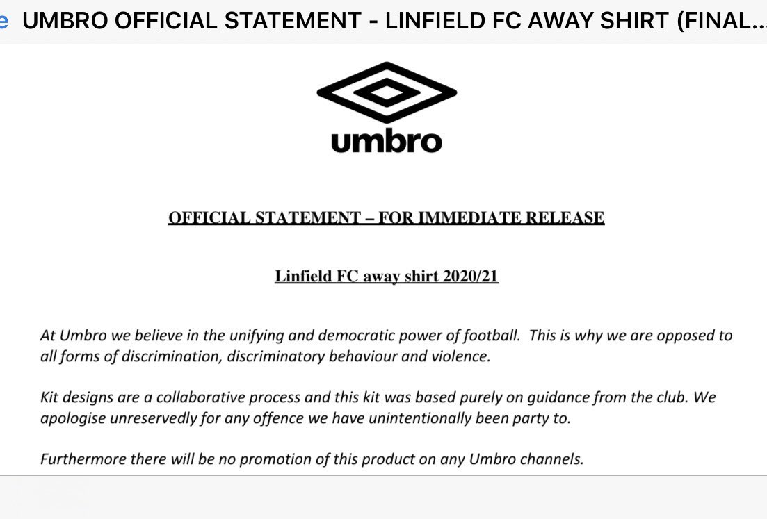 Oooft Umbro hanging linfield out to dry https://t.co/9D5Azzknfz