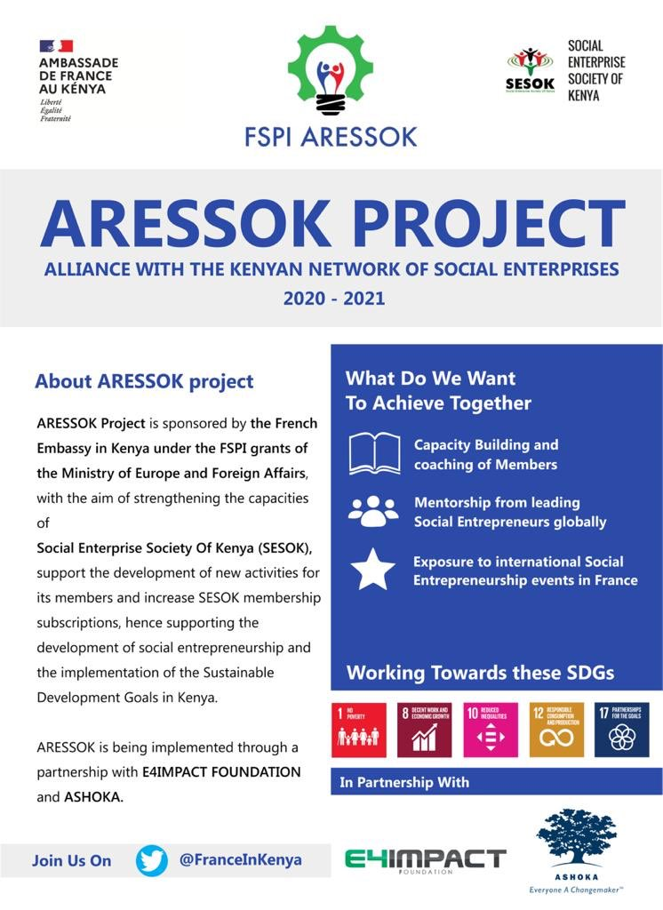 Day1 of training Cohort1 in the #ARESSOK project on #SocialEntKe To find out more about @socialbiz_ke email info@socialenterprise.or.ke  @FranceinKenya is happy to support social entrepreneurship as we strive to realize the SDGs @AshokaAfrica @E4Impact https://t.co/5WYP4cTZod