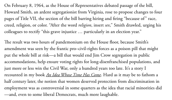 """A reminder that the word """"sex"""" was inserted into Title VII by a segregationist Democrat to try and kill the Civil Rights Act. One of the great self-owns of American legislative history. https://t.co/aK1mPl36P0 https://t.co/FAlb6Xxdc5"""