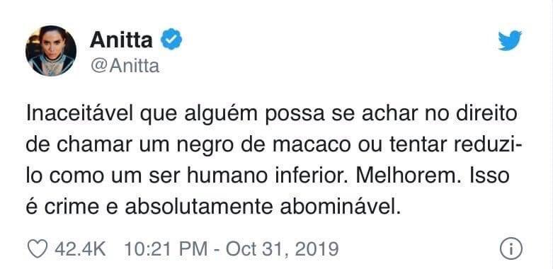 Comentário de Anitta sobre racismo sofrido por Ludmilla 2019