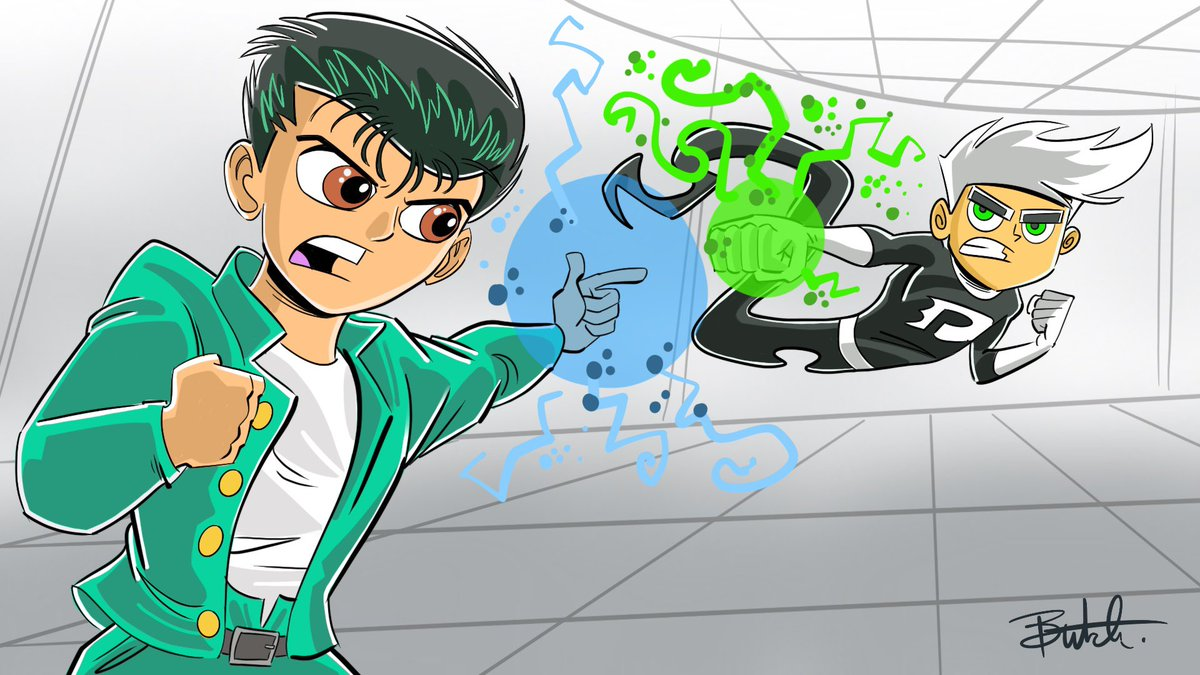 Yusuke vs Danny. #butchhartmandraws #yuyuhakusho #DannyPhantom https://t.co/qaymCgmKoW