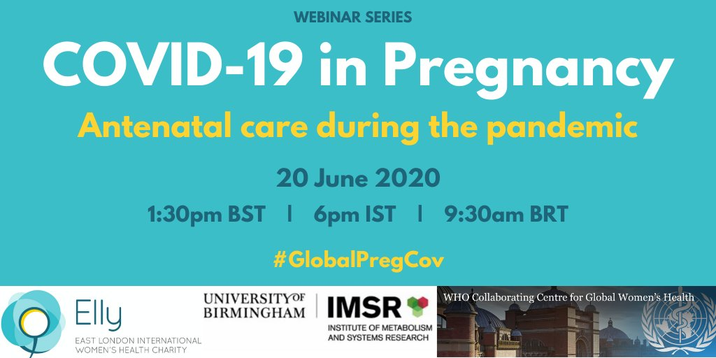 The @WHO Collaborating Centre for Global Women's Health is running a series of FREE online events focused on pregnancy during COVID19 #globalpregcov. Prof. Shakila @thangaratinam from @IMSR_UoB is leading this initiative. For more info & to register👉: https://t.co/mIBMvxvouZ https://t.co/rlxq2G4ijw